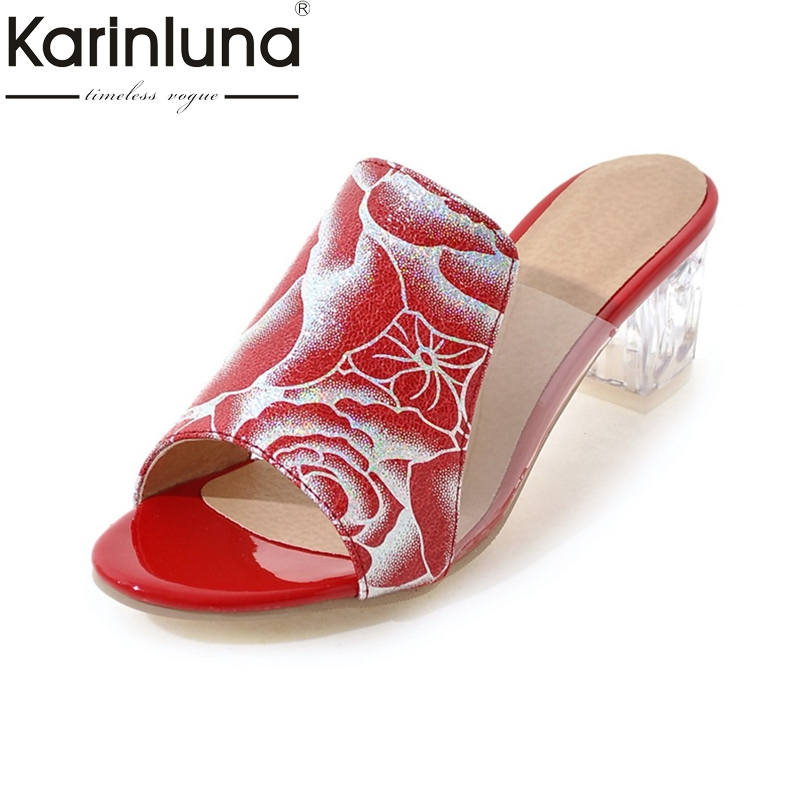 Karinluna 2018 High Quality Round Toe Square High Heels Large Size 32-43 Women Summer Pumps Slip On Red Black Mules Shoes 2017 shoes women med heels tassel slip on women pumps solid round toe high quality loafers preppy style lady casual shoes 17