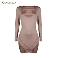 KANCOOLD Dress Lace Up Mini Ladies Evening Party Hollow Sexy Package Hip Long Sleeve Dresses Solid
