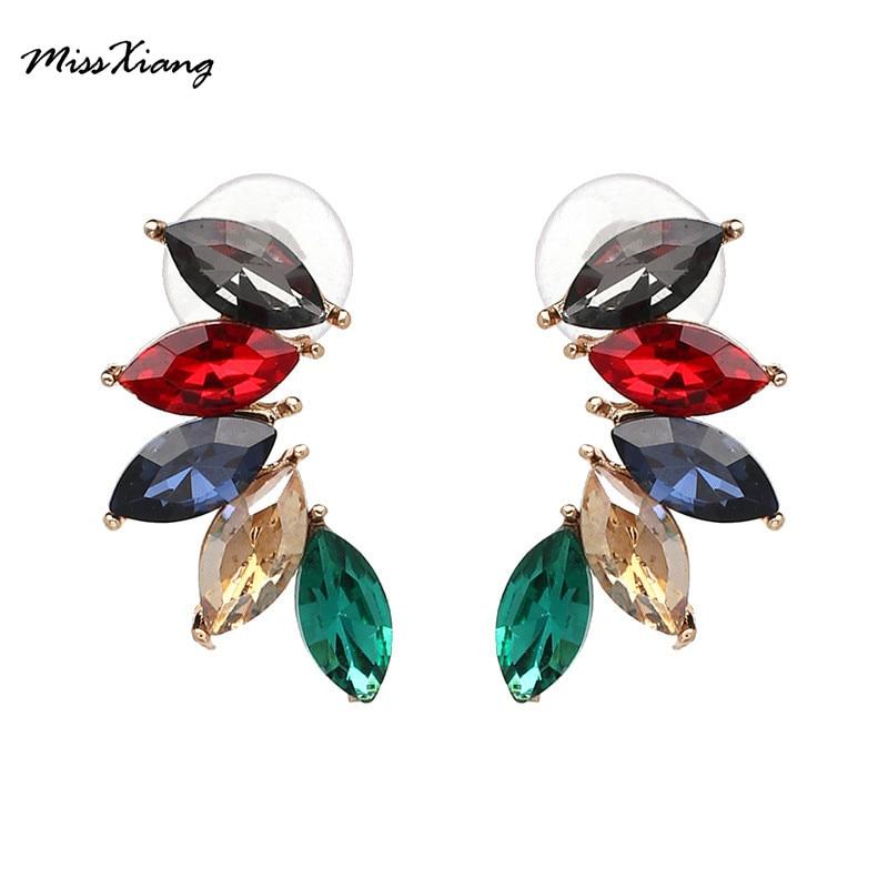 2017 Full Rhinestone Stud earrings, leaves Crystal Pendientes fashion women statement earring girl party simple stud earrings