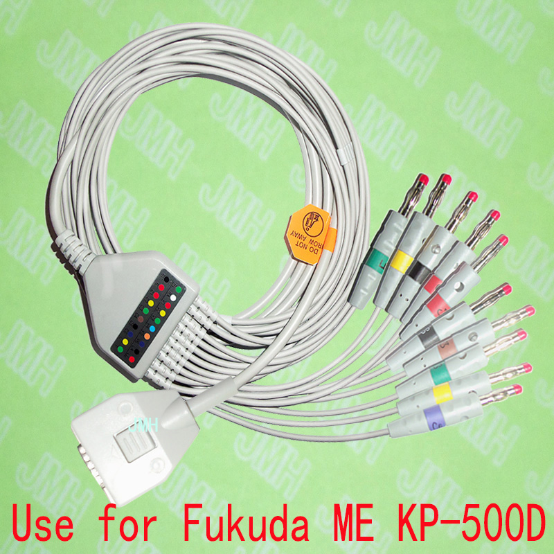Compatible with Fukuda ME KP-500D EKG 10 lead,One-piece ECG cable and leadwires,15PIN,4.0 red  Banana,IEC or AHA.Compatible with Fukuda ME KP-500D EKG 10 lead,One-piece ECG cable and leadwires,15PIN,4.0 red  Banana,IEC or AHA.