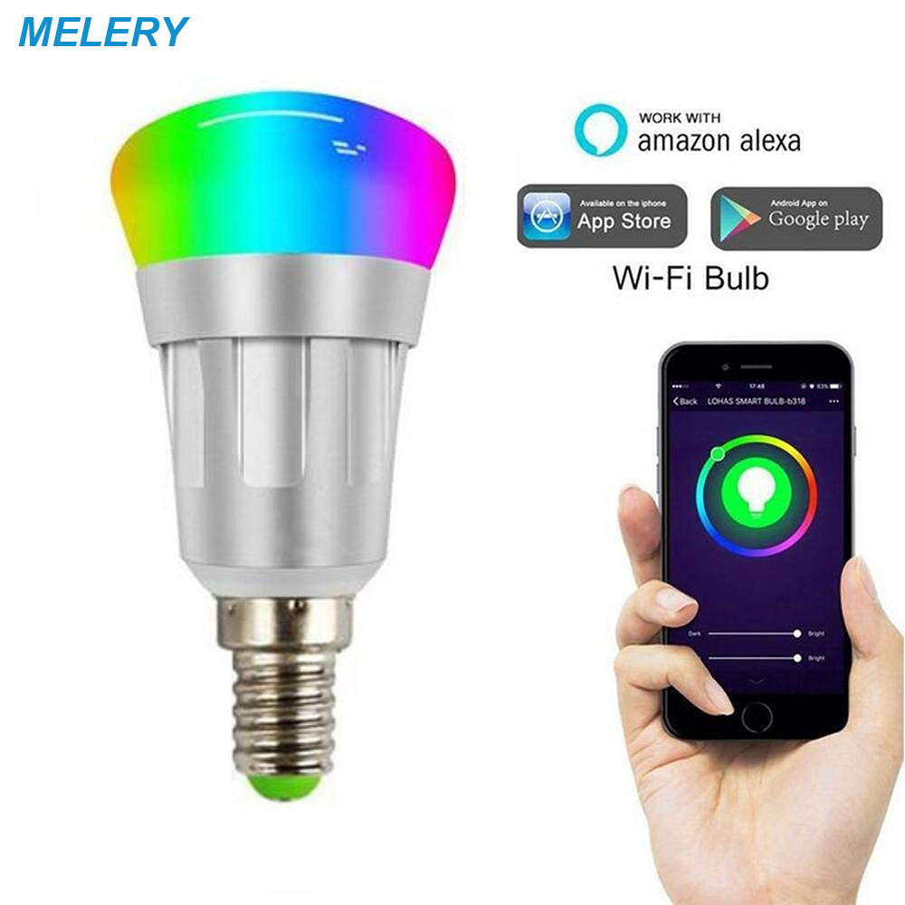 Smart Wifi LED Bulbs RGB Dimmable Color Ambiance E14 Compatible with Amazon Alexa Echo Google Home Steerable 60W Equivalent