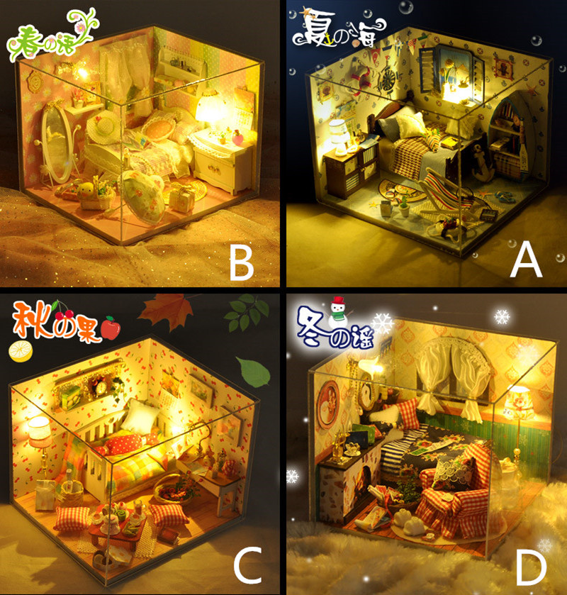 DIY Wooden House Furniture Handcraft Miniature Box Kit with Cover LED Light Mini Architecture Doll House Toys Gift For Children