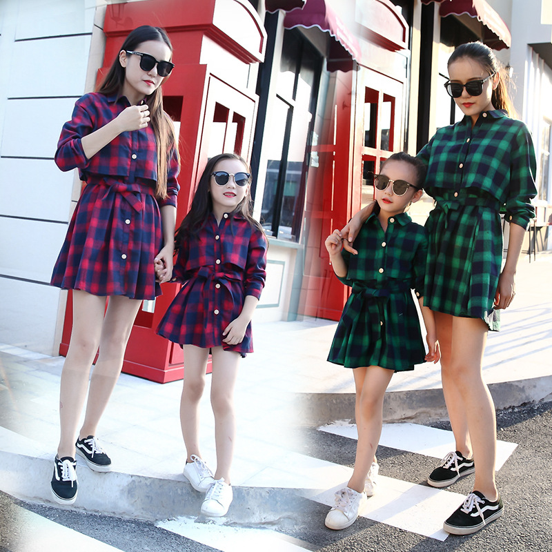 Family Matching Mother Daughter Mommy And Me Clothes Family Look Girls Fashion Clothing Women Summer Check Dress Vintage Outfits