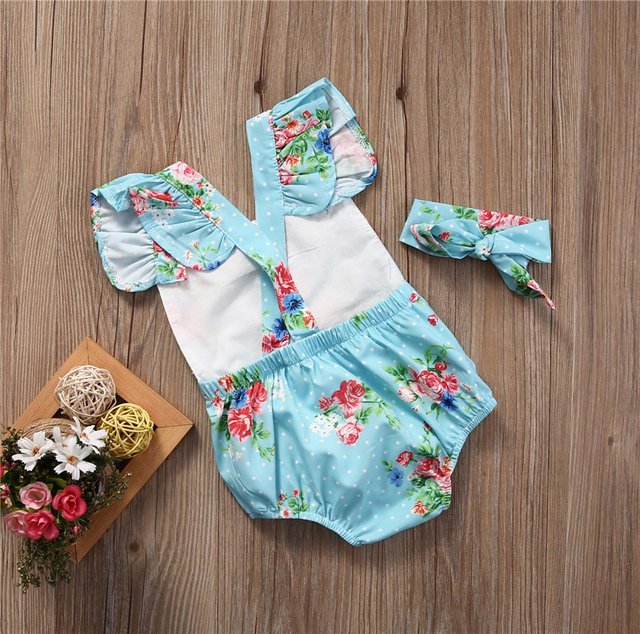 Sea Blue Flowers Baby Girl Romper with Ribbon Bandage