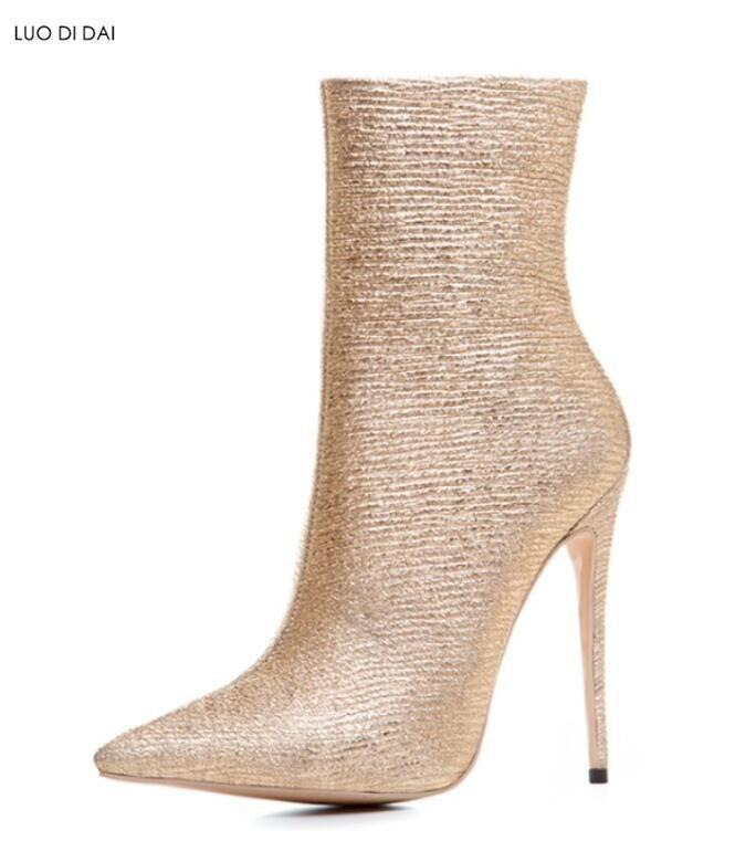 Point Bottines Zip Printemps Bottes Up Mode Mince Sequin Or Chaussures Ville Toe Femmes Dames 2019 Talon De UZY0x10