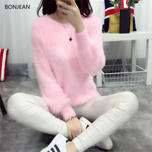 Poncho Top Limited Full O-neck Standard Pull Freeshipping 2017 Autumn And Winter Sweet Round Neck Rabbit Hair Sweater Loose