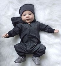 VTOM Newborn baby Boys Rompers Infant Zipper Cotton Long-Sleeved Jumpsuit Hooded Warm Clothes Outfit