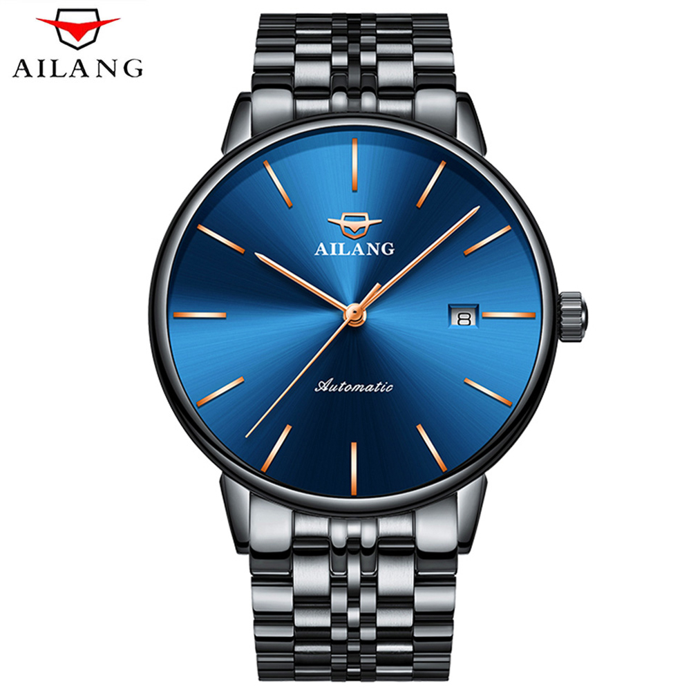 AILANG Luxury Men Mechanical Watch Classic Date Automatic Mechanical Watch Self-Winding Skeleton Stainless steel Strap Watches