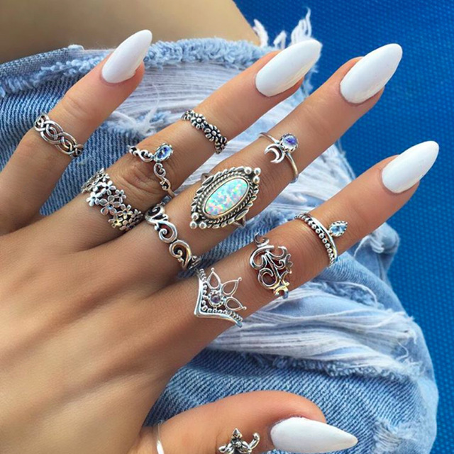HuaTang Bohemian Antique Silver Ring Geometric Elephant Flower Green Rhinestone Knuckle Rings Midi Finger Anel Rings Jewelry 103
