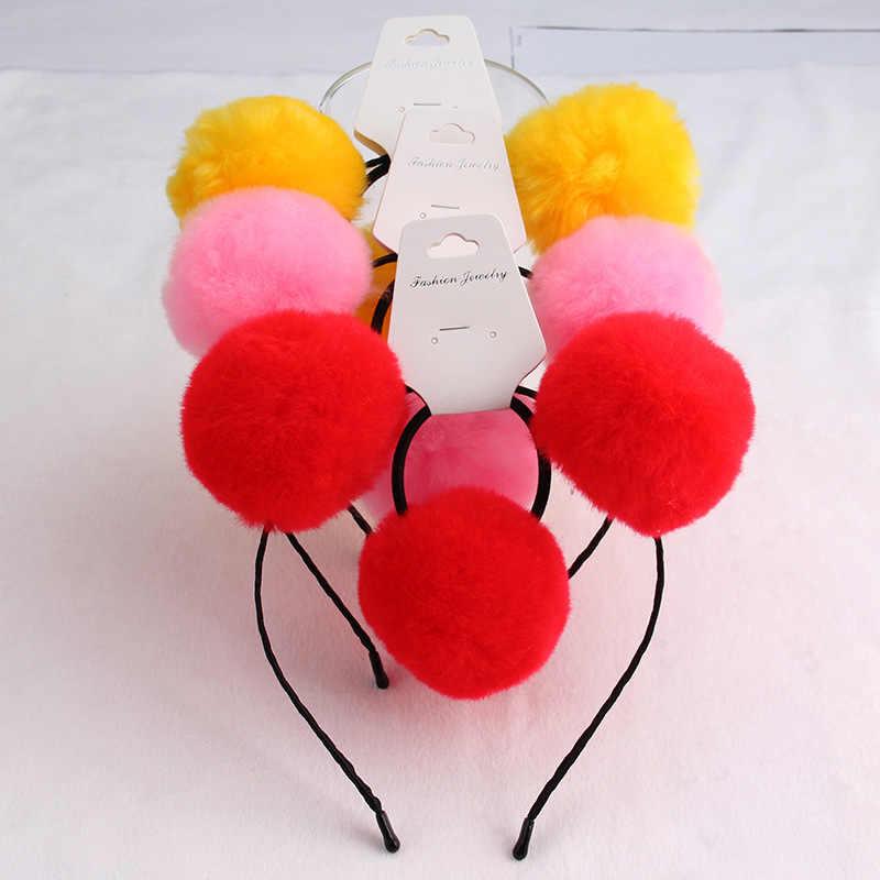 8 ชุดประดิษฐ์กระต่ายขน Pompom Hairbands ผมวงยืดหยุ่นขายส่งคู่ Pompom Headbands น่ารักสาวอุปกรณ์เสริม