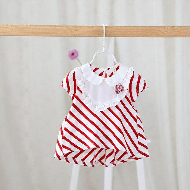 2016 летний новый детская одежда оптом милая девушка кукла воротник полосатый Футболка С Коротким Рукавом Поло для новорожденных для новорожденных