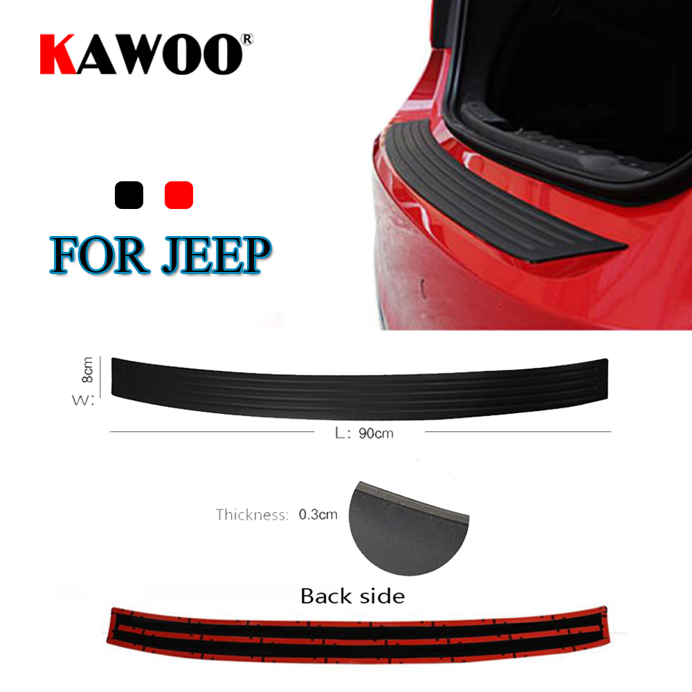 KAWOO For JEEP Compass Patriot Grand Cherokee Commander Rubber Rear Guard Bumper Protect Trim Cover Sill Mat Pad Car Styling car seat covers for jeep grand cherokee compass commander renegade wrangler peugeot 4007 4008 405 406 407 4085008 508 607 807