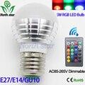 AC85V-265V 5W E27 E14 GU10 Color Change LED RGB Magic Light Dimmable Lampada Bulb Spot lamp lighting+24 key IR Remote Controller