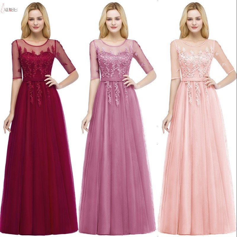 Luxury 2019 Burgundy Pink Tulle Long   Bridesmaid     Dresses   Applique Pearl Wedding Guest Party   Dress   881