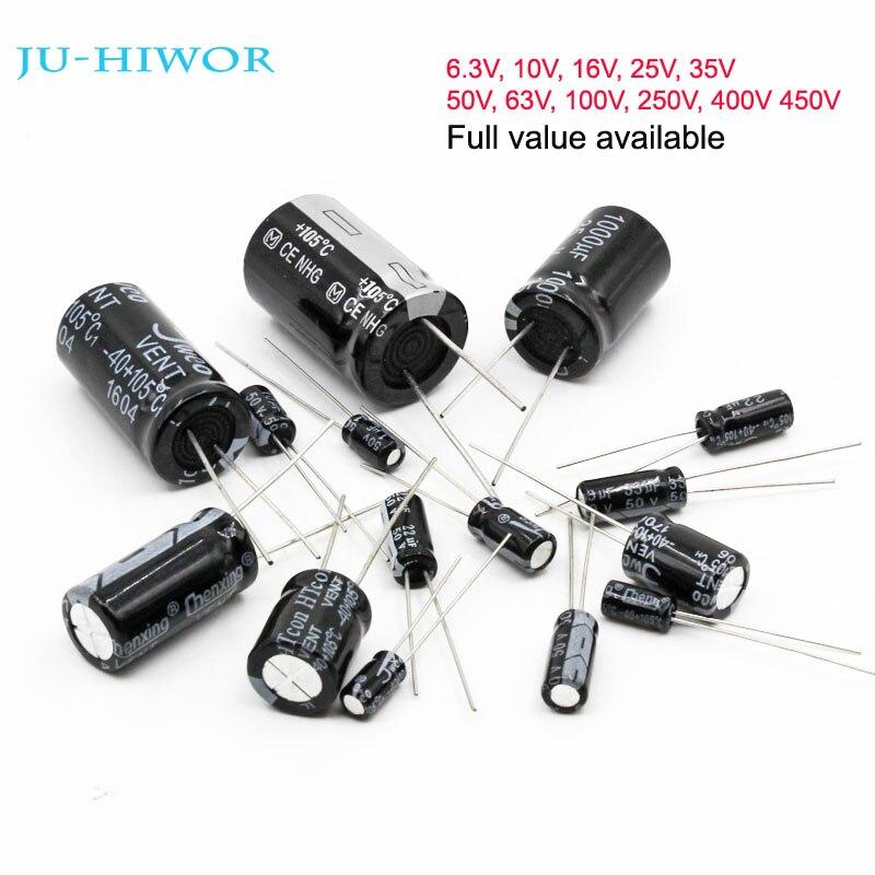 Full Values Aluminum Electrolytic Capacitor 6.3V 10V 16V 25V 35V 50V 63V 100V 250V 400V 450V 10uF To 1000uF 1000uF To 4700uF