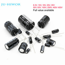 Full Values Aluminum Electrolytic Capacitor 6.3V 10V 16V 25V 35V 50V 63V 100V 250V 400V 450V 10uF to 1000uF 4700uF