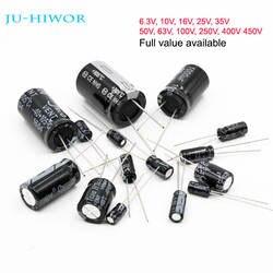 Полный значения Алюминий электролитический конденсатор 6,3 В 10 В 16 В 25 В 35 В 50 В 63 В 100 В 250 В 400 В 450 В 10 мкФ до 1000 мкФ 1000 мкФ до 4700 мкФ