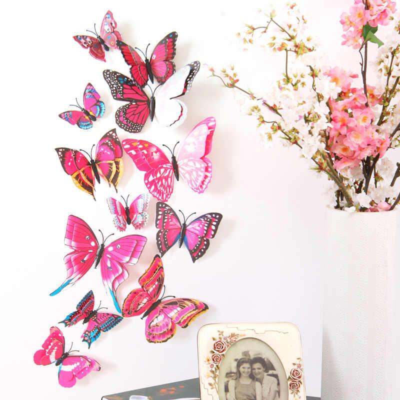 12 Pcs/Banyak 3D Double Layer Dekoratif Butterfly untuk Kamar Tidur Pesta Tirai Palsu Bunga Kerajinan Dekorasi PVC Kupu-kupu dengan Pin DC28