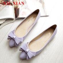 Primavera Verano 2017 de Las Mujeres Del Dedo Del Pie Puntiagudo Pisos Arco Zapatos de Las Mujeres Bajo talón Pisos Resbalón en los Zapatos de Cuero Planos Ocasionales Negro Rojo Rosa arco