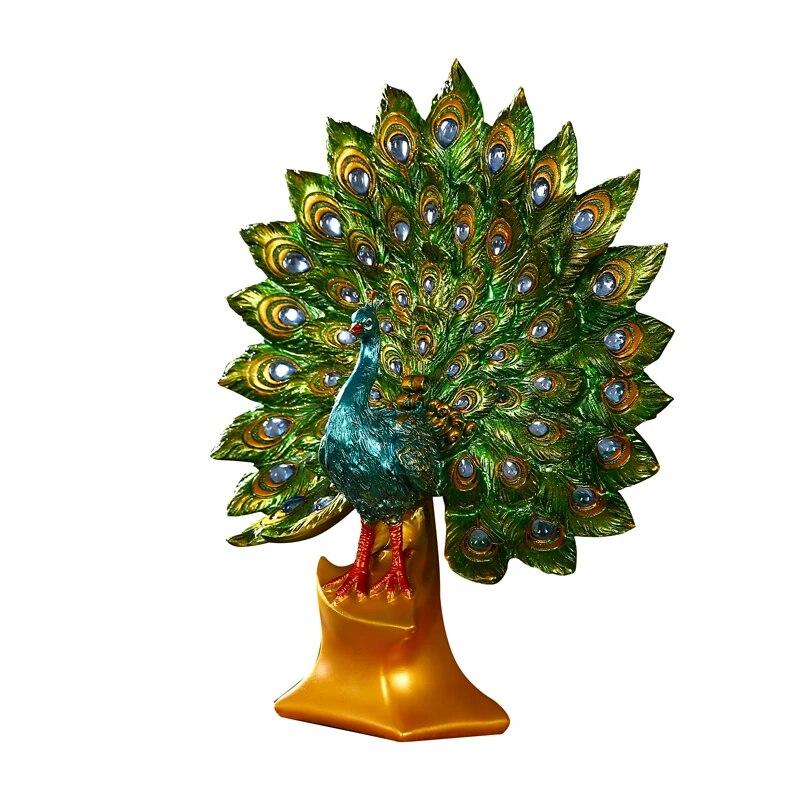 Sculpture De Pecock D Aqumotique Decoration De Maison Etagere A Vin Decorations De Mariage 32cm 1ft Salle D Etude Animal Vert Mural Aliexpress