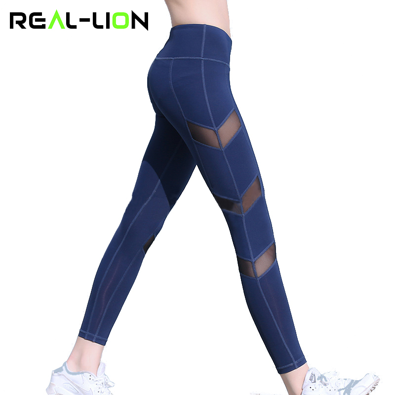 Reallion Mesh Patchwork Fitness Sport Leggings Women High Waist Yoga Pants Running Pants Fitness Workout Leggings Sport Trousers