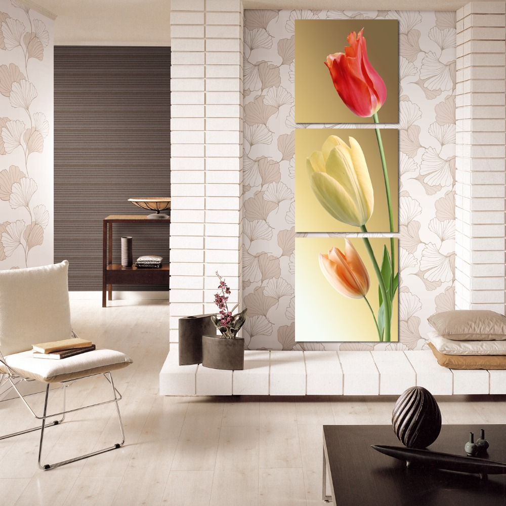 3pcs Set New Art Work Wall Pictures Canvas Painting Home Decor Pretty Tulips Great Color
