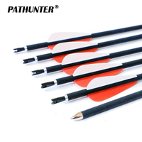 PATHUNTER 12Pcs/Lot Carbon Arrow 31inch Archery SP700 Hunter Nocks Fletched Arrows With Steel Point For Recurve Bow Target Arrow