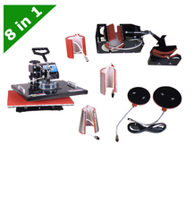 Combo heat 8 in 1 T Shirt Flat Heat Press Machine multifunction LY 038 free shipping
