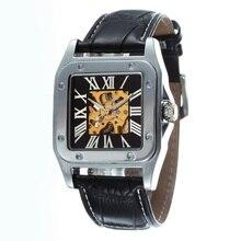 GOER марка автоматические механические Квадратных мужская кожа наручные часы Мужской часы Мода Скелет световой Спорта водонепроницаемый