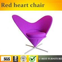 U-BEST ткань Скандинавский современный дизайн красное сердце мебель стул из нержавеющей стали