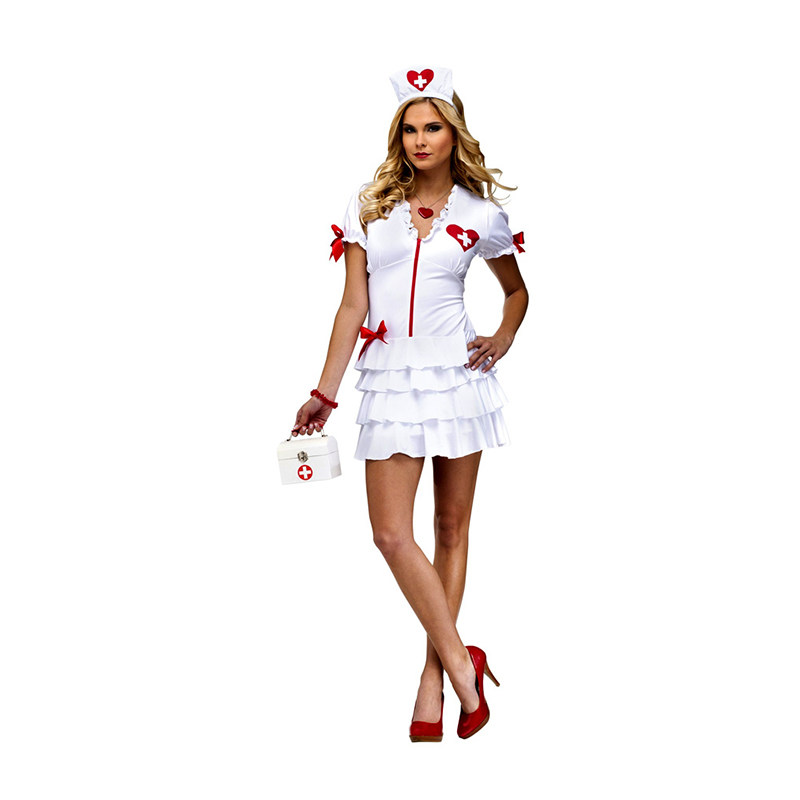 Adult Sexy Nurse Halloween Costume Carnaval Costume Women Flirty Nurse Costume Women Doctor Role Play Party Dress W846139