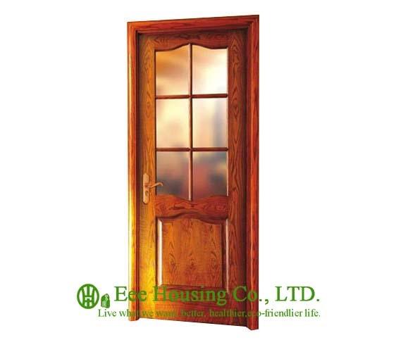 40mm Thickness Glazed Timber Veneer Door For Apartment Swing Type Door Inward Outward