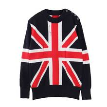 women's autumn winter high quality plus loose oversize basic wool knitted British flag on thick warm pullover jumper sweater