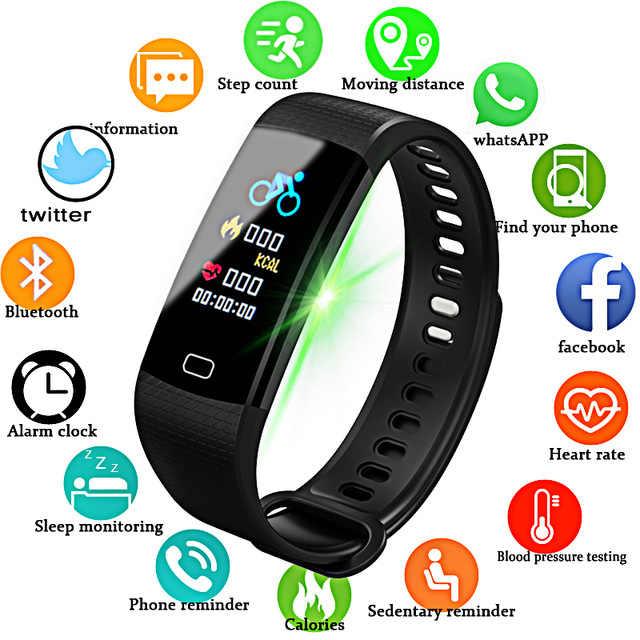 2019 Smartwatch אלקטרוני חכם שעון נשים גברים ריצה רכיבה על אופניים טיפוס ספורט שעון בריאות מד צעדים LED צבע מסך שעון + תיבה