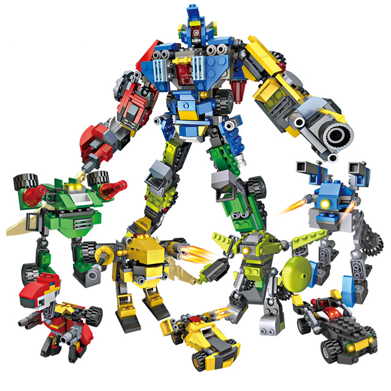 8 in 1 25 forms Transformation Robot Blocks 739pcs Bricks Educational Assemble Building Block Sets Educational