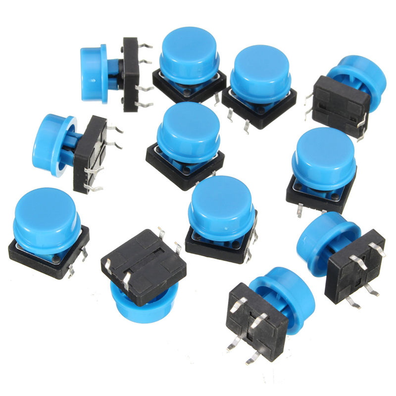 20pcs 4Pin Blue Tactile Push Button Switch Momentary Tact Caps Used in the Fields of Electronic Products Waterproof g94y 50pcs 6x6x9mm 4pin g94 tactile tact push button micro switch direct self reset dip top copper the cheapest high quality