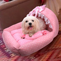 Hot Sale Waterproof Suede Warm Princess Bed for Dogs Pet Dog Cat House Sofa Bed Princess Design with Bowknot Lace For Pets