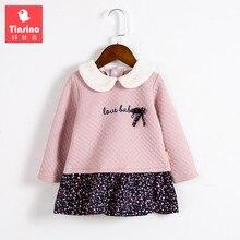 Tinsino Bébé Filles Automne Sweat Floral Robe Enfant Fille Printemps Tops Infantile Ruché Ruches Fleurs Robes Enfants Vêtements
