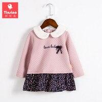 Tinsino Baby Mädchen Herbst Sweatshirt Blumenkleid Kleinkind Mädchen Frühling Tops Infant Geraffte Rüschen Blumen Kleider Kinder Kleidung