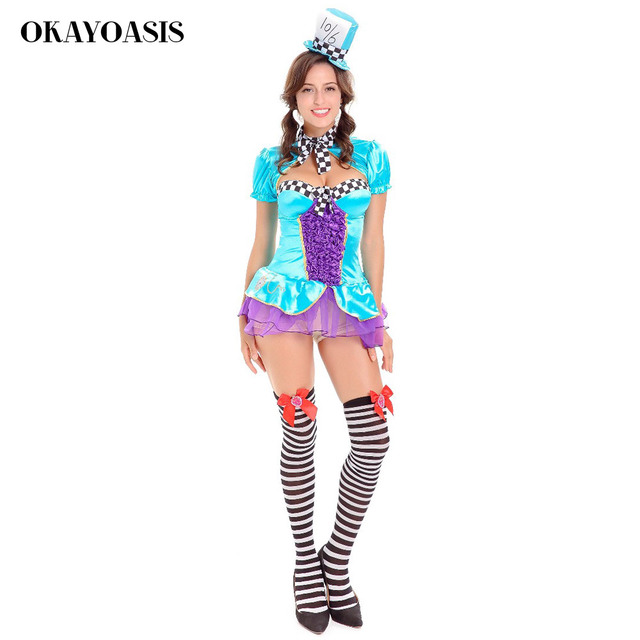 OKAYOASIS 2017 Women Halloween Party Poker Girl Costume Sexy Outfits Mini  Dress Games Costumes bf69323b0418