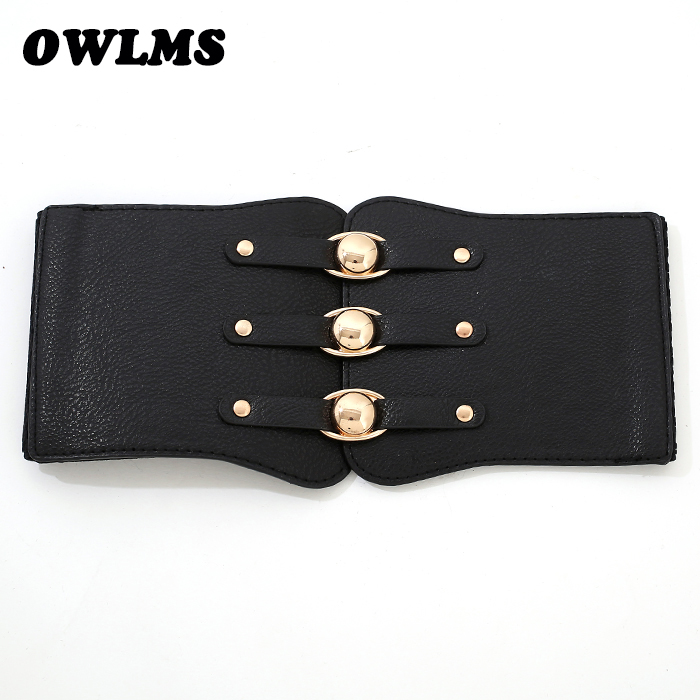 Free Shipping New Fashion Accessories Wholesale Popular Leather Belt Punk Wide Cummerbund Elastic Royal Gold Buckle Beauty Women