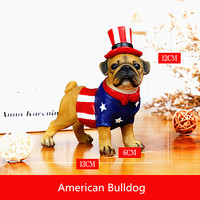 Simulation Animal American Bulldog Dog Statue Flag of the United States Home Decorations Resin Art Craft Creative Gift L2743
