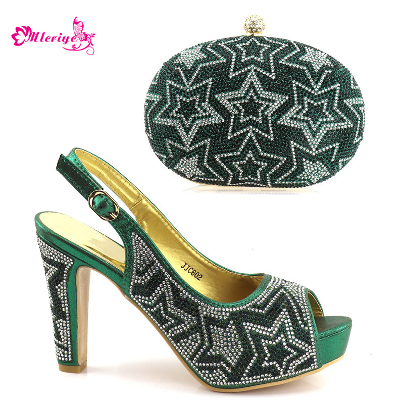 New Arrival Womens Dress Shoes Open Toe Italian Shoes and Bags To Match Shoes with Bag Set Decorated with Rhinestone Low Heels