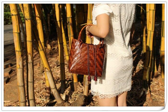 HANSOMFY   Плетеная соломенная сумка ручной работы в богемном стиле, Пляжная летняя шикарная мини бамбуковая сумка, Экологически чистая Праздни... - 2