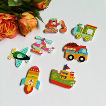 30pcs mixed Style Children Button DIY handmade decorative buckle cartoon wooden buttons wooden sewing button(China)