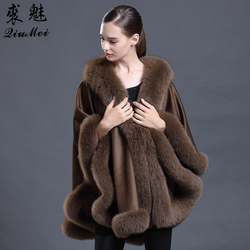Ponchos y capas de lana de marca de lujo con bufandas de piel de zorro para mujer 2018 invierno mujer Cachemira Pashmina chal de moda para mujer
