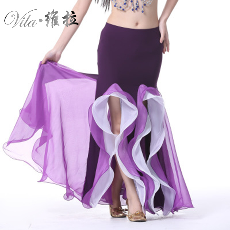 Shining Satin Long Skirt Swing Dancing Skirt Belly Dance Mermaid Skirt 9 Colors Available VL-317