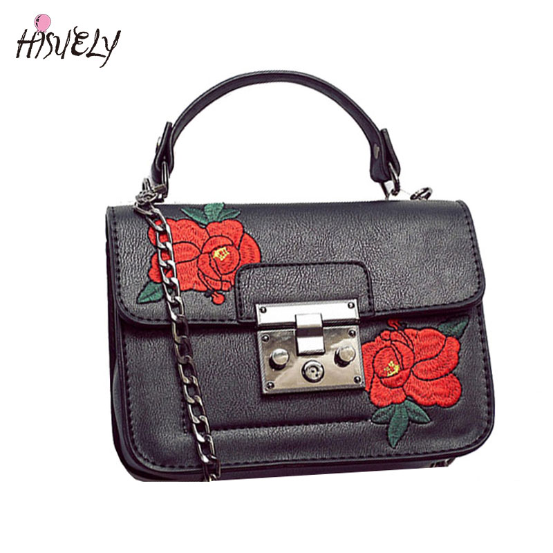2017 New Fashion vintage Floral Embroidered Bag Women PU Leather Handbags  Women chain Shoulder Messenger Bags Bolsos Sac women genuine leather handbags chain fashion messenger bags small square package 2017 new mini embroidered women shoulder bag
