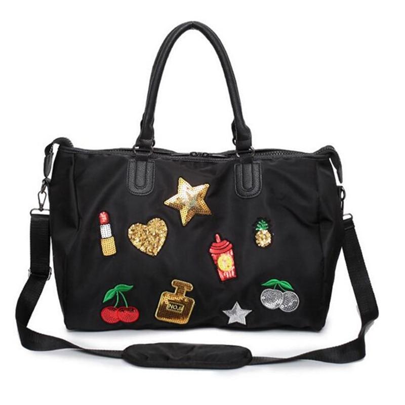 Women s Handbag Punk Style Beat Badge Sequined Female Ladies Shoulder Bag  Casual Tote Handbag Patch Messenger b45508efbd