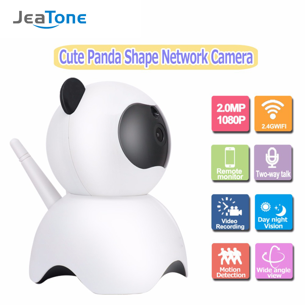 JeaTone Smart IR IP Network Camera Full HD 1080P Wifi Wireless Home Indoor Security Surveillance System Cute Panda Baby Monitor